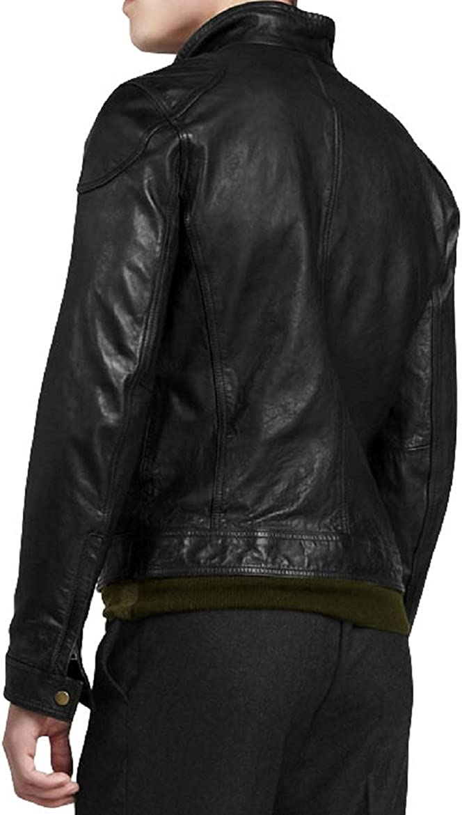 New Mens Genuine Lambskin Leather Slim Fit Biker Motorcycle Jacket for Men P081