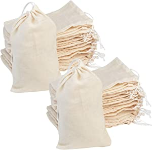 100Pcs Cotton Drawstring Bags, Reusable Muslin Bag Natural Cotton Bags with Drawstring Produce Bags Bulk Gift Bag Jewelry Pouch for Party Wedding Home Storage, Natural Color (4 x 6 Inches)