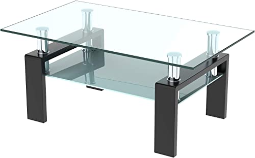 LinkRomat Rectangle Glass Coffee Table Center Table