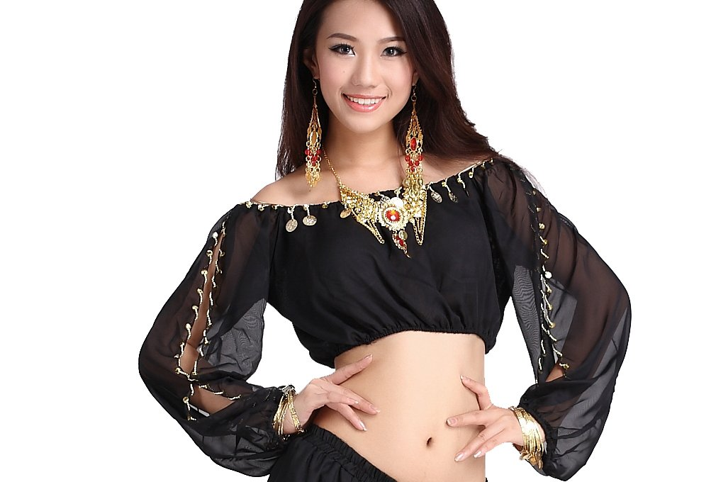 ZLTdream Ladys Belly Dance Long Sleeves Chiffon Top Black, One size