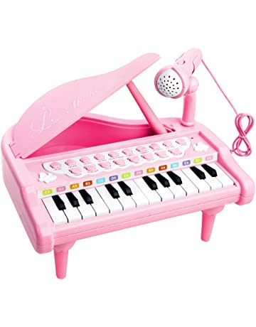 f24543b50 Piano Toy Keyboard for Kids Birthday Gift Pink Music Instruments with  Microphone 24 Keys