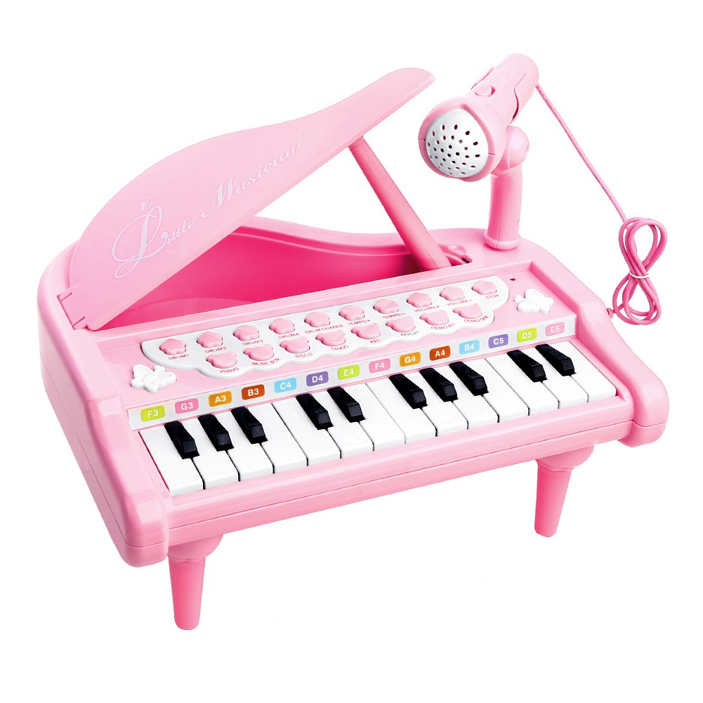 Piano Toy Keyboard for Kids Birthday Gift Pink Music Instruments with Microphone 24 Keys