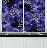 Cheap Skull Decor Kitchen Curtains Scary Creepy Skull Heads Flying in Outer Space Cosmos Little Stars Image Window Drapes 2 Panels Set for Kitchen Cafe Black and Purple