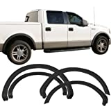 Fender Flares Fits 2004-2008 Ford F-150 | OEM Factory Style Unpainted Black PP Front Rear Right Left Wheel Cover Protector Vent Trim by IKON MOTORSPORTS | 2005 2006 2007