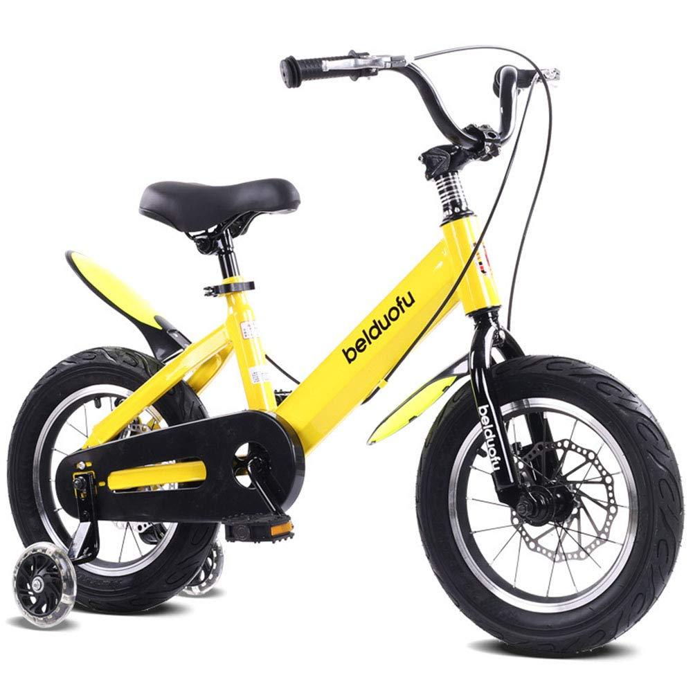 1-1 Bici Bambini Bicicletta Altezza Regolabile Veloce Ruote PU Bicicletta di Montagna Doppio Freno Ragazzo Ragazza Sicurezza Damping 14 Pollici,giallo