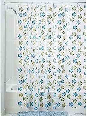 Amazon InterDesign Novelty EVA Shower Curtain 72 X Inch Fishy Blue Green Home Kitchen