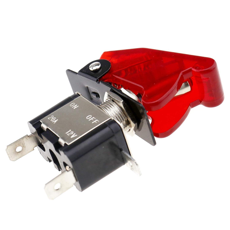 Creative-Idea 5X 12V 20A Couverture Rouge LED Lumi/ère Bascule /À Bascule Interrupteur SPST on//Off 2Pin pour Voiture de Course Camion Van ATV Bateau /À Moteur