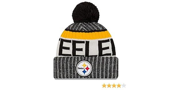 14ca566b647 Amazon.com   New Era Knit Pittsburgh Steelers Black On Field Sideline Sport Knit  Winter Stocking Beanie Pom Hat Cap 2015   Sports   Outdoors