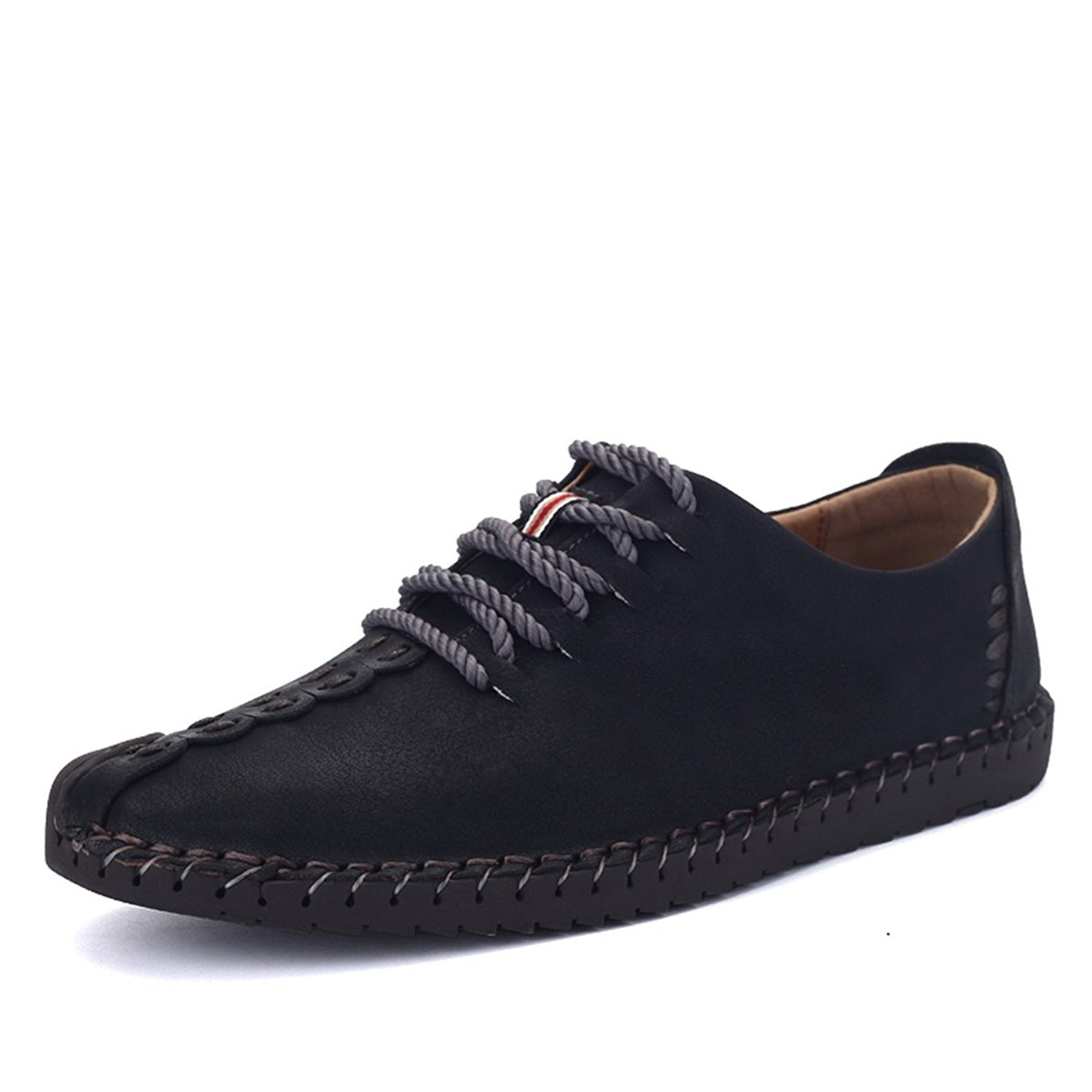 Tezoo Men's British Style Handmade Classic Leather Oxford Flats Shoes, Casual Shoes, Lace-up Loafers, Flats Sneakers Black 10 US