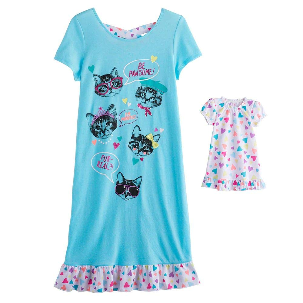 Girls Kitty Cat Nightgown with Matching Doll Gown