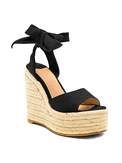 08fc035eceb Syktkmx Womens Lace Up Platform Wedge Sandals High Heel Peep Toe Slingback  Espadrilles