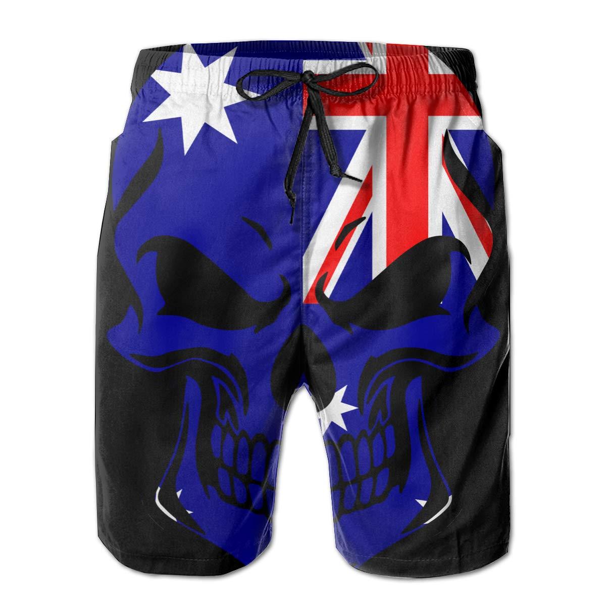 TBVS 79 Australia Flag Skull Mens Summer Cool Boardshort for Surf Sand and Fun