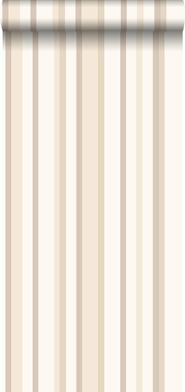 papel pintado rayas beige y marr/ón 115820 de ESTAhome.nl