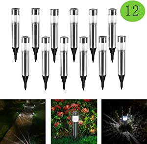 Solar Pathway Lights Outdoor,12-Pack Waterproof Solar Lights Outdoor Stainless Steel Painted Solar Light for Garden,Yard,Lawn