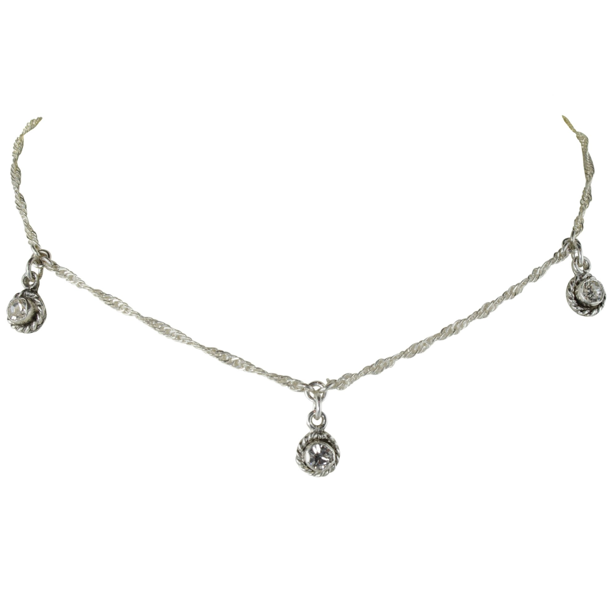 Santa Monica 3 Crystal Choker - Silver - VSA - Virgins Saints Angels Jewelry