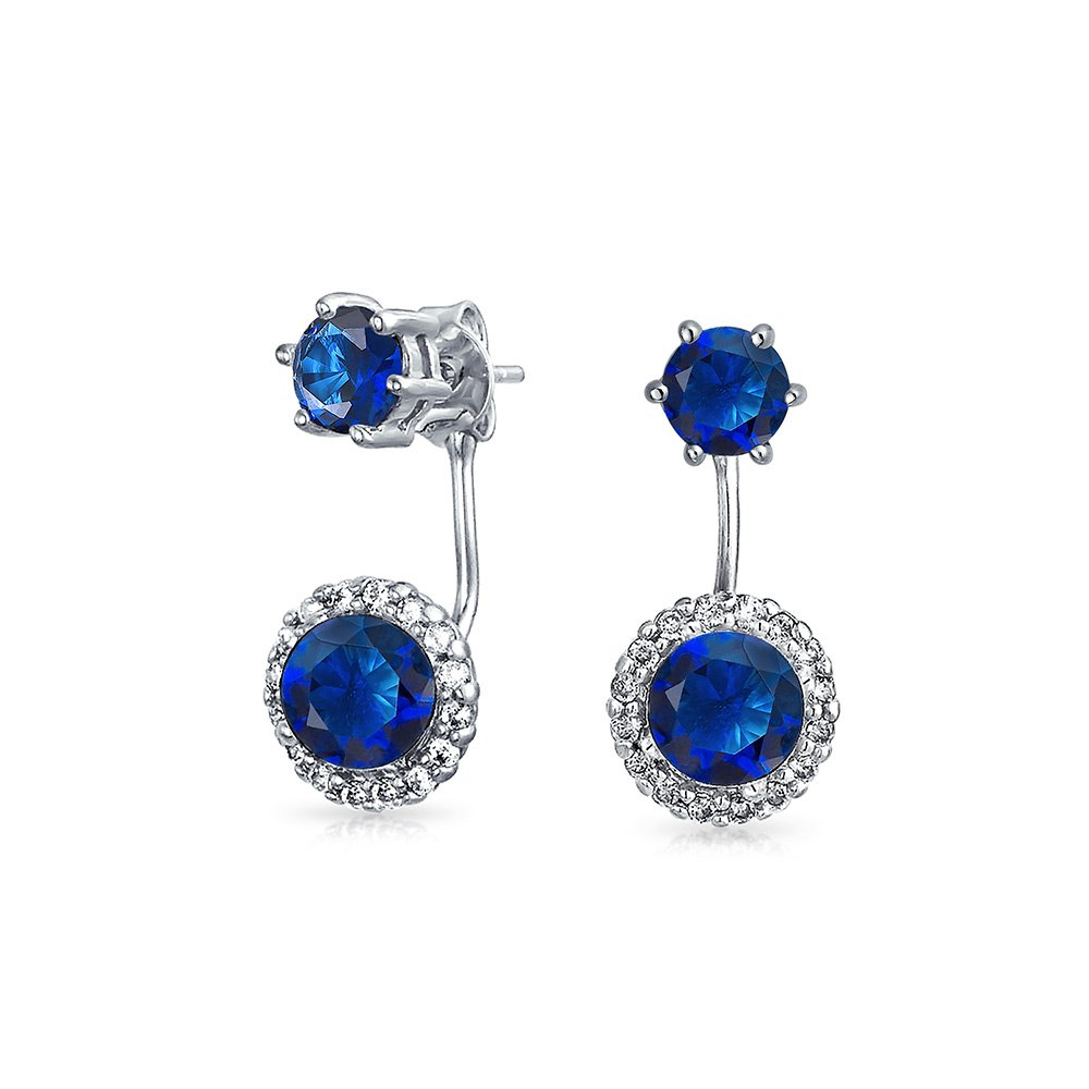 Round Blue Front Back Earrings with Removable Jacket Simulated Sapphire Solitaire CZ Halo