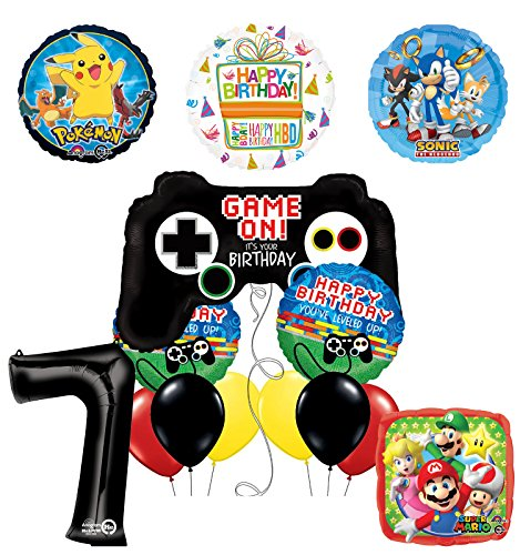 (The Ultimate Video Game 7th Birthday Party Supplies and Balloon Decorations (Sonic, Super Mario and Pokemon))
