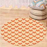 VROSELV Custom carpetValentine Cute Sweet Big Orange Colored Heart Shapes Romance In Love Themed Tile Design for Bedroom Living Room Dorm Orange Peach Round 79 inches