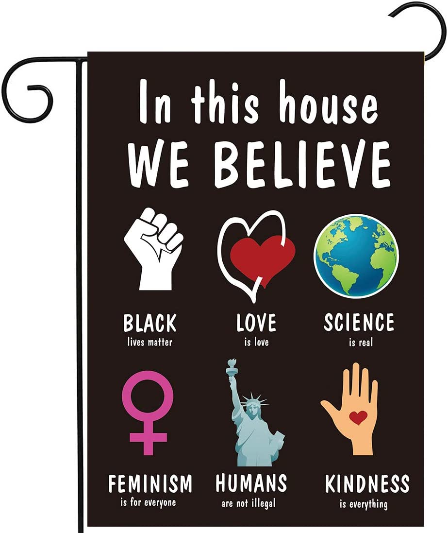 Allenjoy in This House We Believe Artwork Garden Flag for Outside Mailbox Vertical Black Lives Matter Farmhouse Yard Sign Custom Patio Outdoor Decors 12x18 Double Sided Washable Polyester UV-Resist
