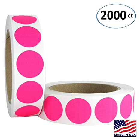 """500ct 3//4/"""" RED FLUORESCENT BLANK DOT CIRCLE STICKER LABEL COLOR CODING ORGANIZE"""