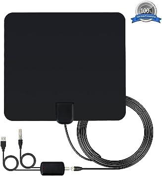 Antena de TV Interior,Bestlinktech Amplificador Antena Digital HDTV,50 Millas Gama de Recepción, 5M Cable Alto Rendimiento,Ultra Delgado Amplificador ...