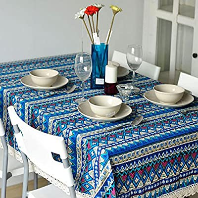 Bringsine Vintage Tablecloth,Linen Rectangle Washable Dinner Picnic Table Cloth,Assorted Size