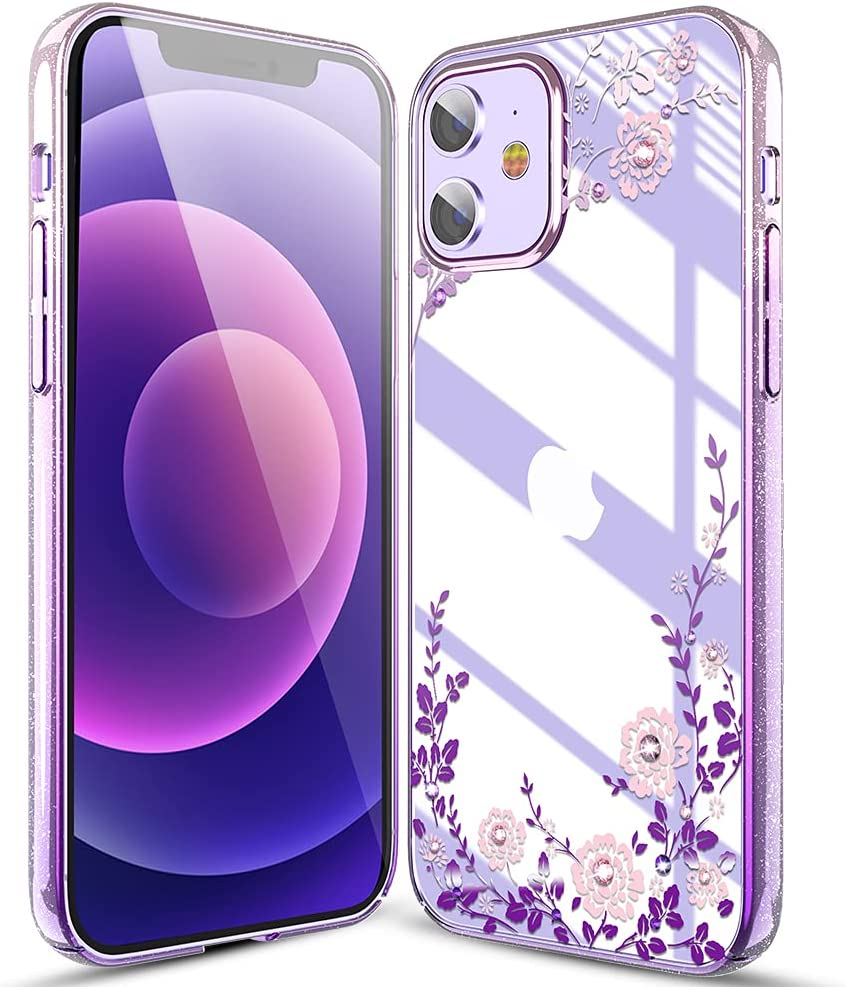 Queenxbar Luxury Floral Series Protective Phone Cover Floral Cute Phone Case with Pearl Edge/Bling Crystals for Apple iPhone 12/12 Pro 6.1 inch for Women Girls