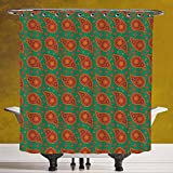 Decorative Shower Curtain 3.0 [Ethnic,Mandala Ethnic Bohem Inspired Orange Floral Patterns with Green Backdrop Image Art Decorative,Multicolor] Waterproof and Mildewproof Polyester Fabric Bath Curtain
