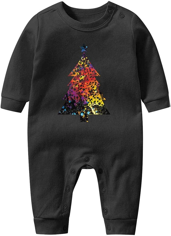 Big White Christmas Tree Baby Onesie Organic Cotton Novelty Soft Kid Long Sleeve Bodysuit
