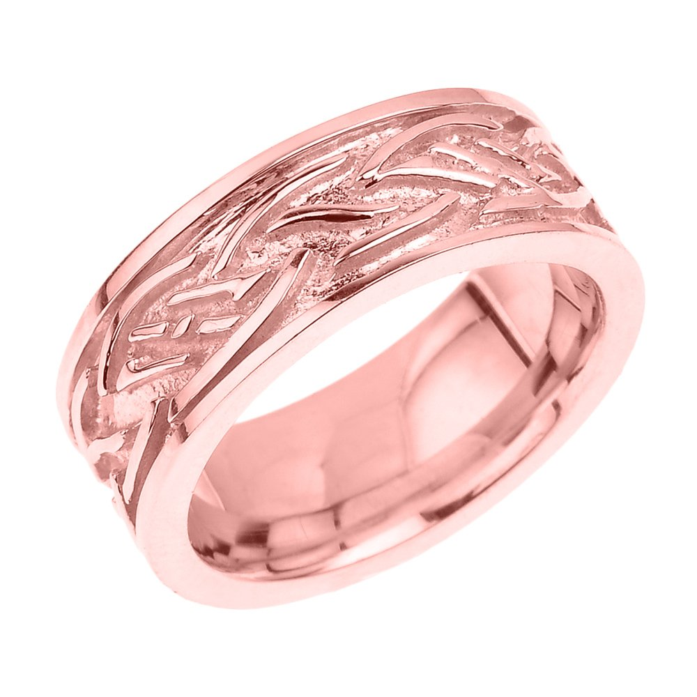 14k Rose Gold Celtic Wedding Band for Men|Amazon.com