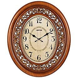 HUIYUE Oval Shape Decorative Wall Clock,Nostalgic Wall Clock,Indoor Silent Wall Clock,Suitable Hotel Living Room Corridor-A 20inch