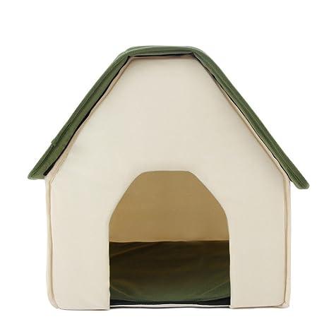 Cama caseta plegable textura suave para mascotas color verde 43 X 41 X 44 cm acogedora