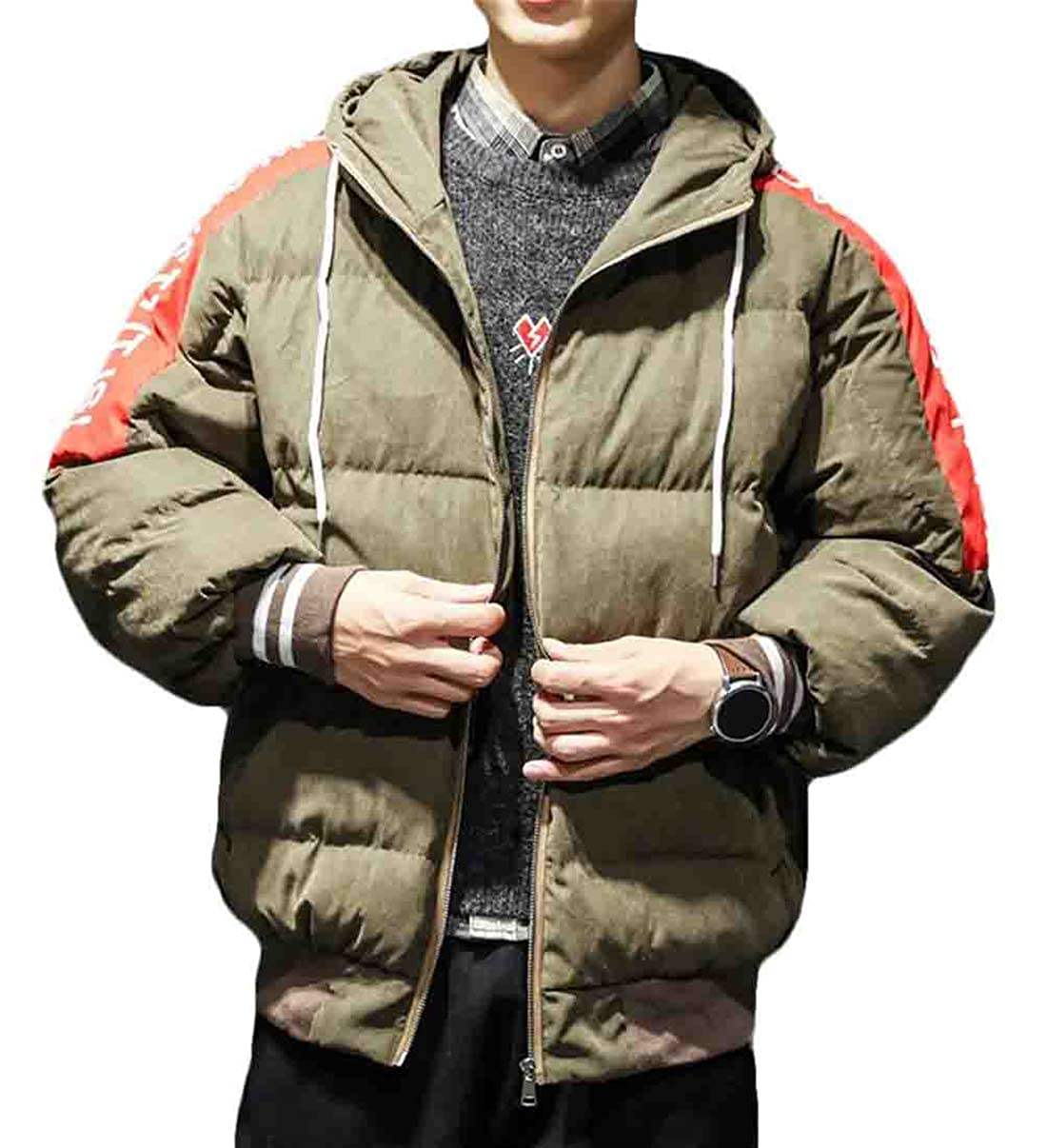 Hilization Men Stylish Hooded Color Block Letters Print Thicken Drawstring Cotton Down Puffer Jacket