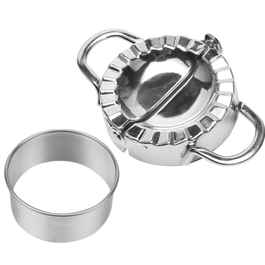 Dumpling Mould,Lovewe Pastry Tools Stainless Steel Dumpling Maker Dough Cutter Dumpling Mould For The New Year(Silver) by Lovewe_Dumpling Mould (Image #1)