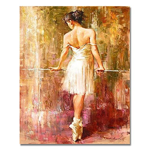 Rihe DIY Oil Painting Paint By Numbers Kits with Brushes Acrylics Painting Kits on Canvas for Adults Kids Beginner - Ballet 16x20 Inch(Wooden - Oil Painting Ballet