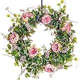 Peach Cabbage Rose Silk Wreath, Summer Wreath, Everyday Wreath, Rose Wreath (30 inch)
