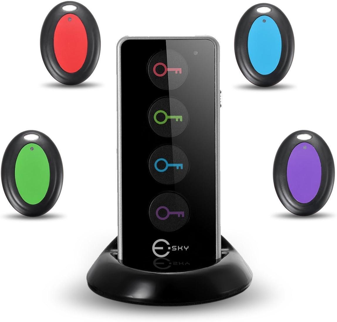 Esky® ES-KF02 Localizador Inalámbrico de Llaves con Base de Soporte y LED, Control Remoto, 1 Radio Frecuencia Transmisor, 4 Receptores-Negro