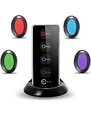 Esky ES-KF02 RF Localizzatore Oggetto Controllo Remoto Cerca Chiavi Key Finder Tracker con LED Torcia e Supporto Base, 1 Trasmettitore Remoto & 4 Ricevitori