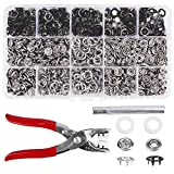 200 Sets Snap Fasteners Kit Tool, Metal Snap Buttons Rings with Fastener Pliers Press Tool Kit for Clothing (9.5mm, balck)