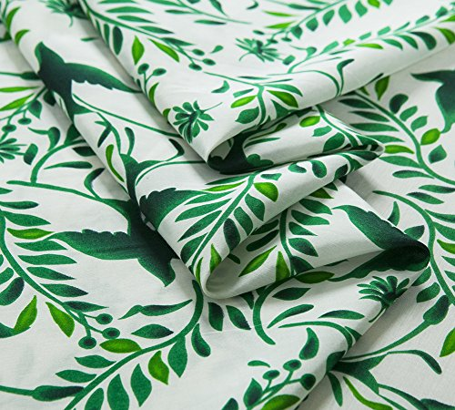 Printed silk blend cotton fabric, green leaves birds pattern, floral, sew for top, shirt, dress, skirt, craft by the yard - Printed Silk Blend