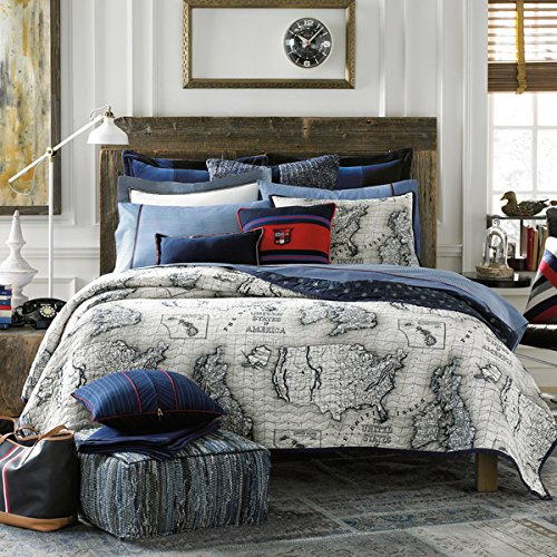 (Tommy Hilfiger Explorer Full/ Queen Quilt and Sham, 3 PC Set)