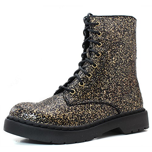 Qupid Women's Ankle Bootie Military Inspired Combat Lace Up Black Gold Glitter Fashion Boots, -