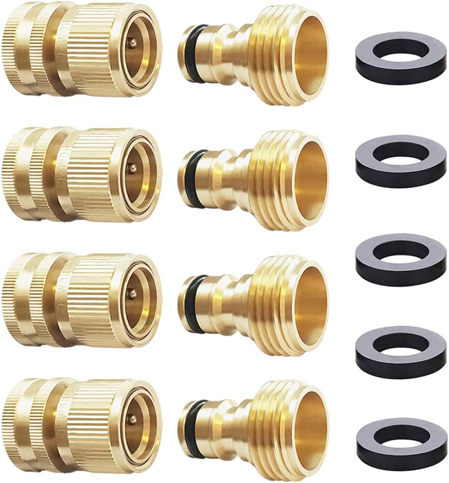 HQMPC Garden Hose Quick Connect Solid Brass Quick Connector Garden Hose Fitting Water Hose Connectors 3/4 inch GHT (4Sets)