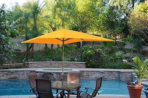 Cheap Jeco 6.5′ x 10′ Aluminum Patio Market Umbrella Tilt with Crank in YellowFabric Bronze Pole
