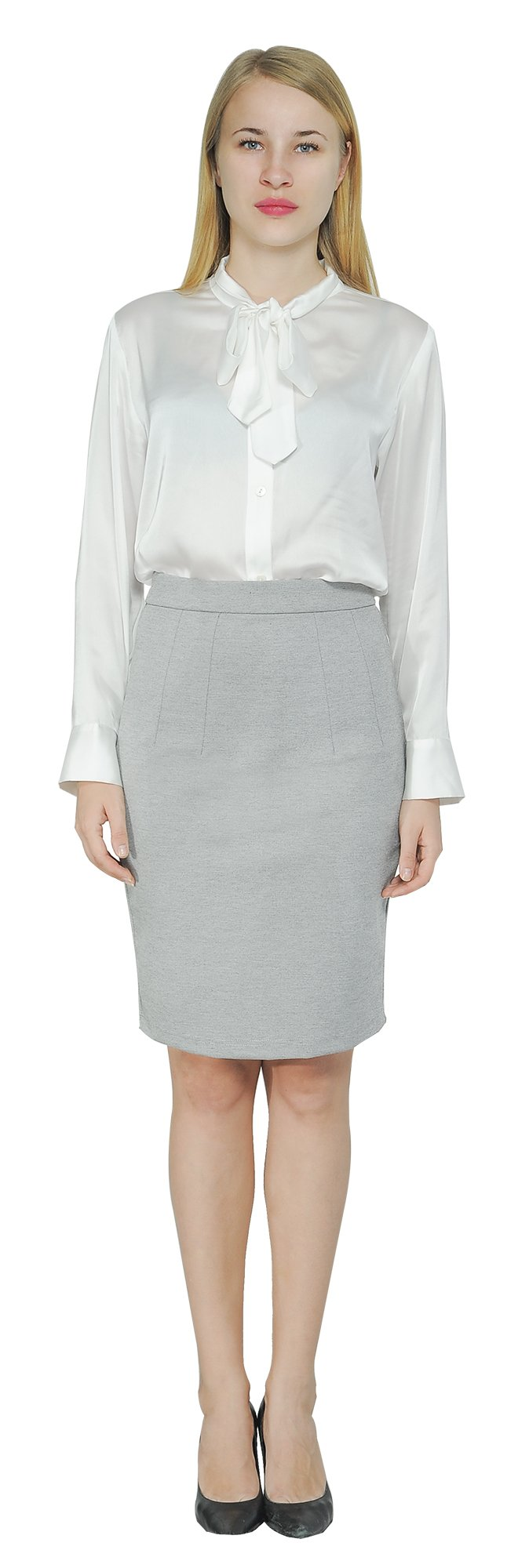 Marycrafts Women's Work Office Business Pencil Skirt XS Salt & Pepper