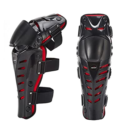 Runspeed 1 Pair Motorcycle Knee Brace Bicycle MTB Bike Cycling Riding Knee Shin Support Protective Pads Guards for Adult Men Outdoor Sports Knee Protector Gear (Black/Red) : Sports & Outdoors