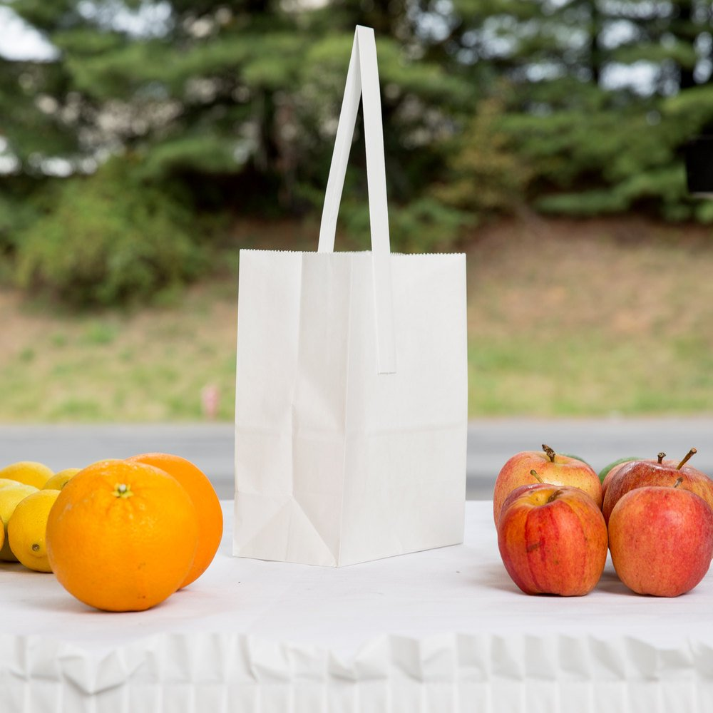 1/4 Peck ''FSERhman'' White Kraft Paper Produce Customizable Market Stand Bag with Handle 500 / Case by Choice