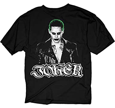 1c3f1a5896f6 Amazon.com: Suicide Squad Joker Straight On Adult T-Shirt: Clothing