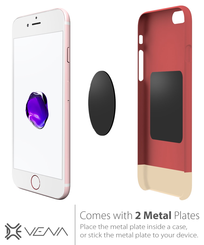 Aluminum Car Mount Holder for iPhone XR XS MAX X 8 Plus 8 7 Google Pixel 3 XL Galaxy S10 S8 Plus LG G6 Smartphone Car Mount Vena DISC-M Universal CD Slot Moto G5 Plus Magnetic | 2 Plates S9