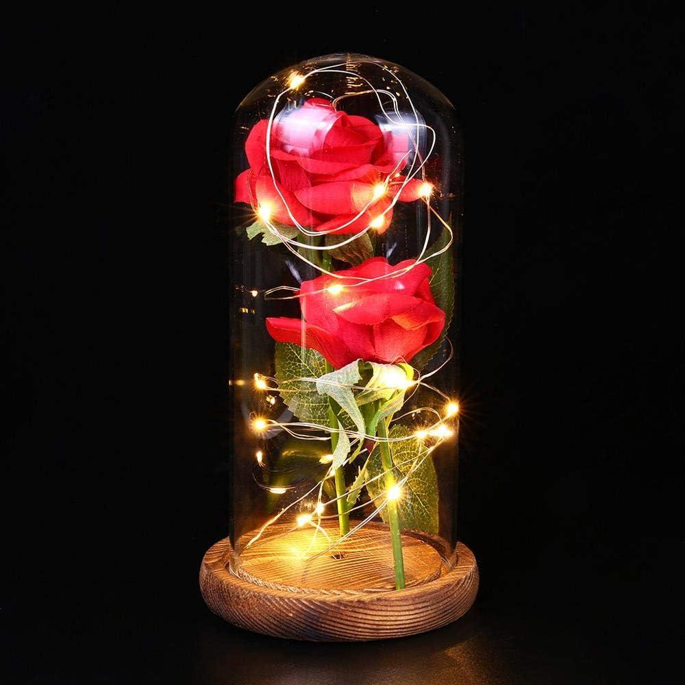 Rose Eternelle sous Cloche la Belle et La Bete 2 Roses Rouges dans Une Coupole en Verre sur Socle en Bois Anniversaire de Mariage pour la Saint Valentin La Belle et La B/ête Rose D/écorations